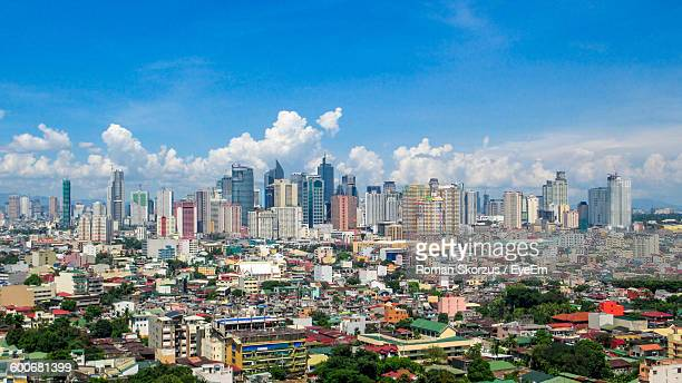 high angle view of cityscape against sky - manila philippines stock pictures, royalty-free photos & images