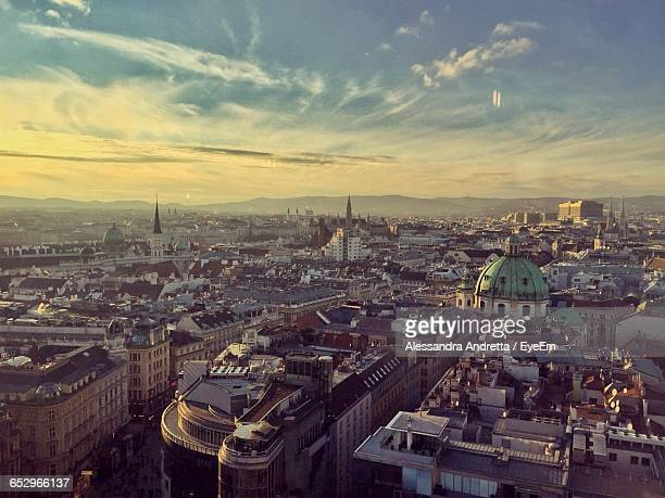high angle view of cityscape against sky - vienna austria stock pictures, royalty-free photos & images
