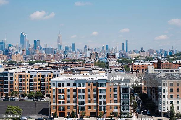 high angle view of cityscape against sky - hoboken stock pictures, royalty-free photos & images