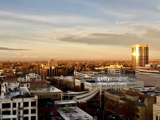 high angle view of cityscape against sky - billings montana stock pictures, royalty-free photos & images
