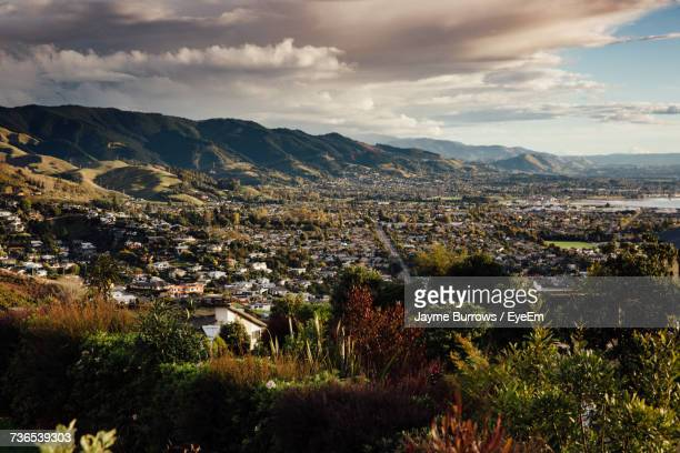 high angle view of cityscape against sky - nelson city new zealand stock pictures, royalty-free photos & images