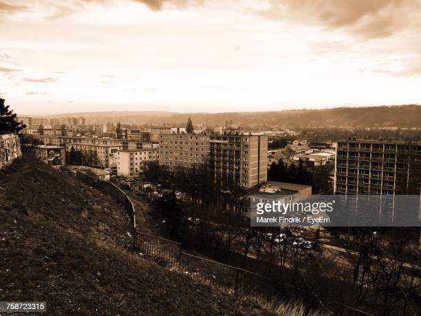 high angle view of cityscape against sky - kosice stock photos and pictures