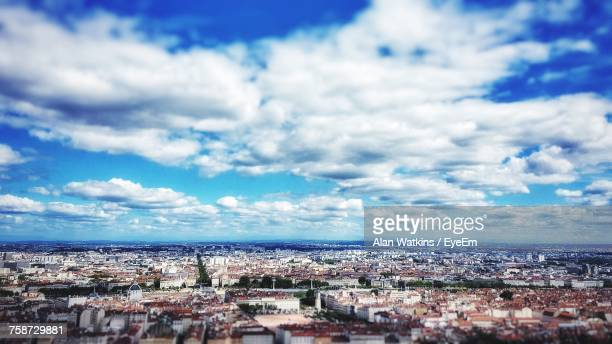 high angle view of cityscape against sky - rhone alpes stock photos and pictures