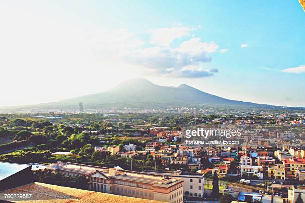 high angle view of cityscape against sky - pompeii stock photos and pictures