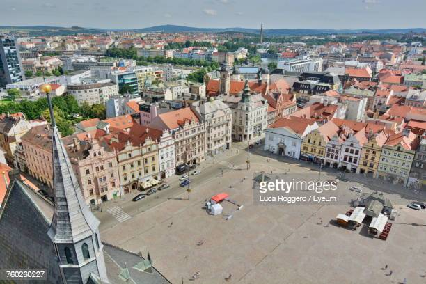high angle view of cityscape against sky - plzeň stock pictures, royalty-free photos & images