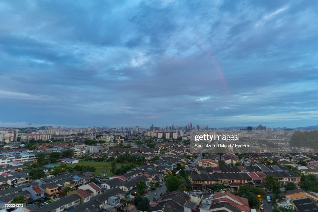 High Angle View Of Cityscape Against Sky : Stock Photo