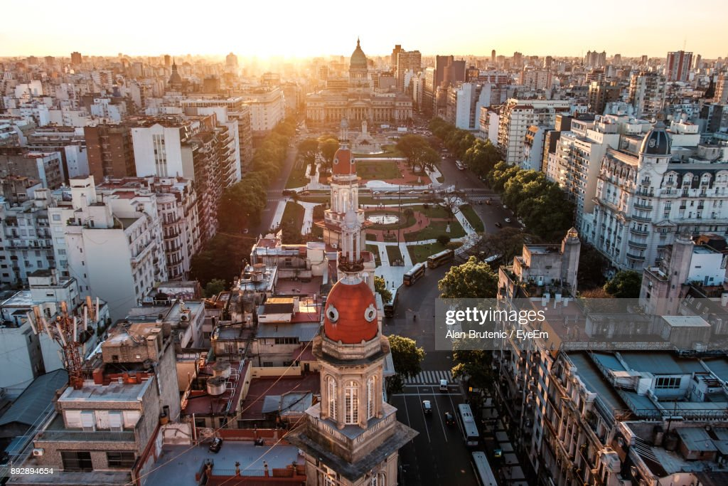High Angle View Of Cityscape Against Sky : Stock-Foto