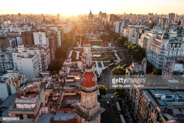 high angle view of cityscape against sky - buenos aires stock pictures, royalty-free photos & images