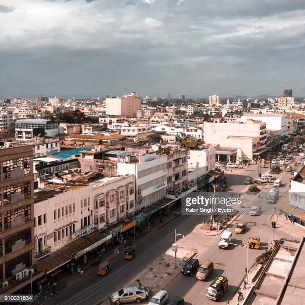 high angle view of cityscape against sky - mombasa stock photos and pictures