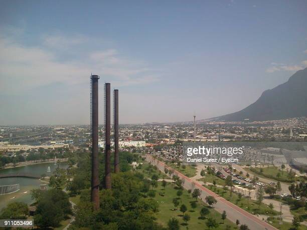 high angle view of cityscape against sky - monterrey mexico stock photos and pictures