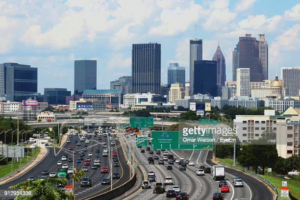 high angle view of cityscape against sky - atlanta skyline stock pictures, royalty-free photos & images