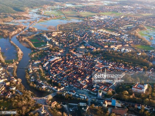high angle view of cityscape against sky - celle stock photos and pictures