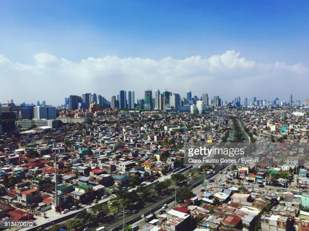 High Angle View Of Cityscape Against Sky