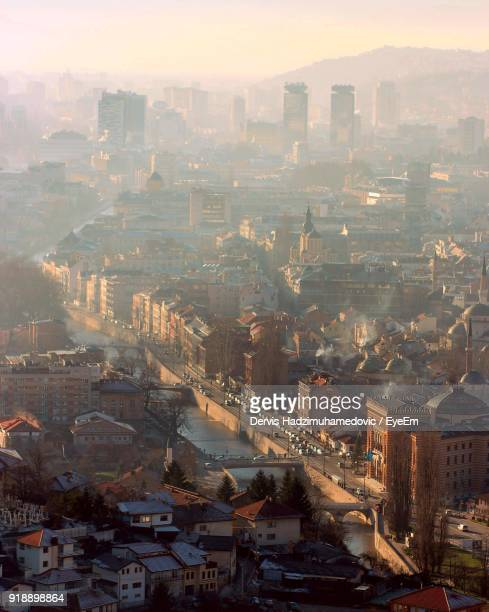 high angle view of cityscape against sky - sarajevo stock pictures, royalty-free photos & images