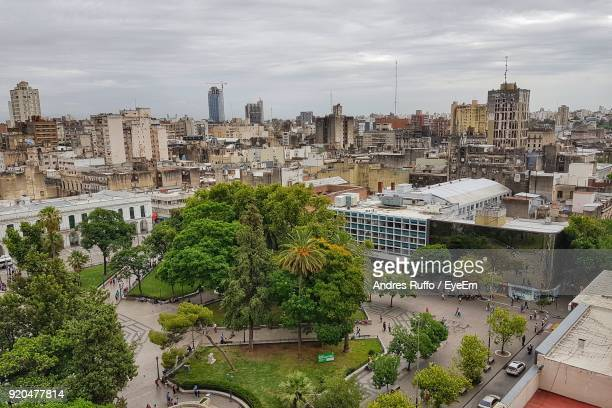 high angle view of cityscape against sky - andres ruffo stock pictures, royalty-free photos & images