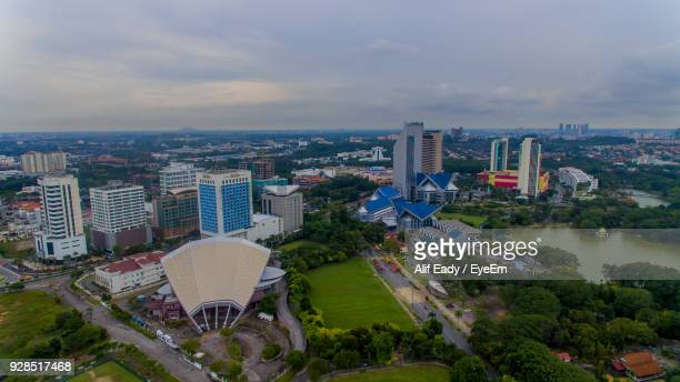 high angle view of cityscape against sky - shah alam stock photos and pictures