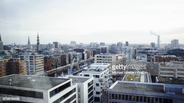 high angle view of cityscape against sky - hamburg germany stock pictures, royalty-free photos & images