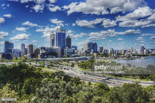 high angle view of cityscape against sky - perth stock pictures, royalty-free photos & images