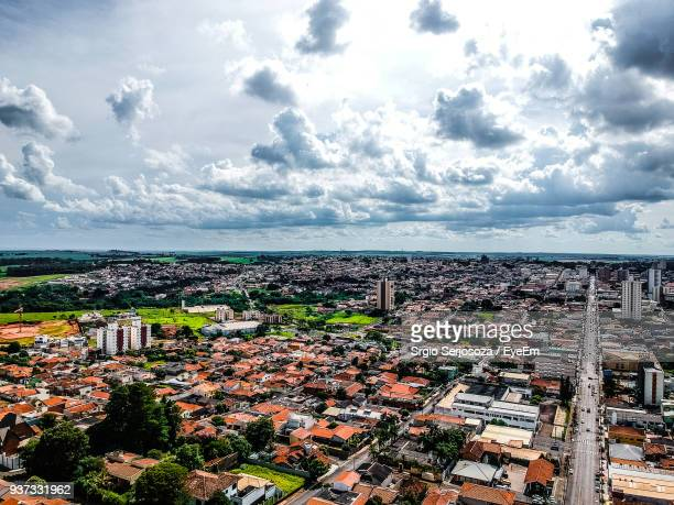 high angle view of cityscape against sky - assis ストックフォトと画像