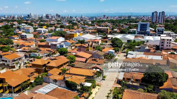 high angle view of cityscape against sky - cochabamba stock pictures, royalty-free photos & images