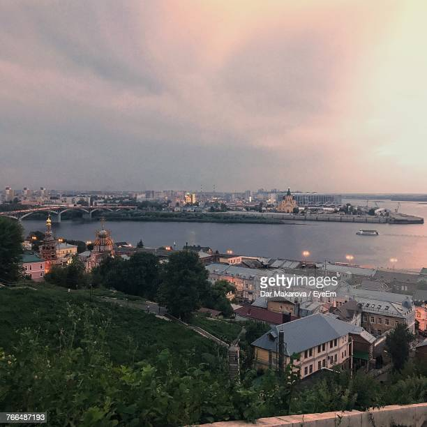high angle view of cityscape and sea against sky - nizhny novgorod oblast stock photos and pictures