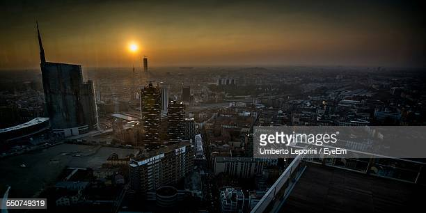 High Angle View Of Cityscape At Dusk