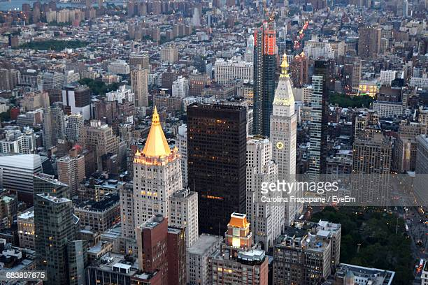 high angle view of cityscape at dusk - carolina fragapane stock pictures, royalty-free photos & images