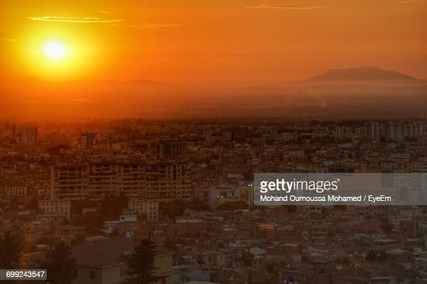 high angle view of cityscape at sunset - algeria stock pictures, royalty-free photos & images