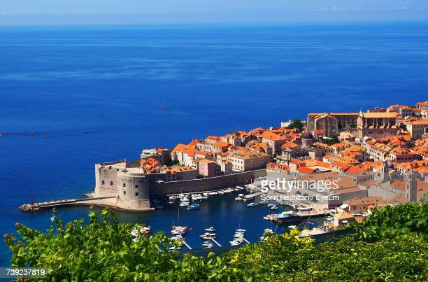 high angle view of cityscape by adriatic sea - balkans stock photos and pictures