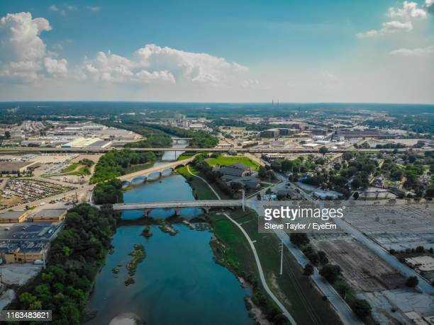 high angle view of cityscape by sea against sky - indiana stock pictures, royalty-free photos & images