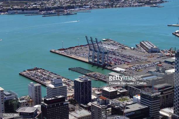 high angle view of cityscape by sea - harbour stock pictures, royalty-free photos & images