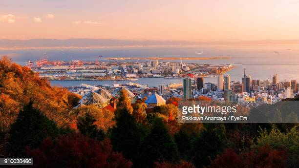 high angle view of cityscape during sunset - 神戸市 ストックフォトと画像
