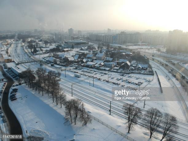 high angle view of cityscape during winter - belarus stock pictures, royalty-free photos & images