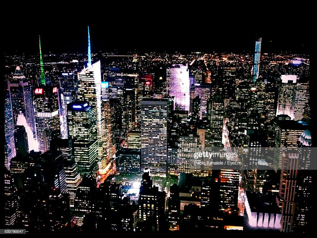 High Angle View Of Cityscape Lit Up At Night : Foto stock