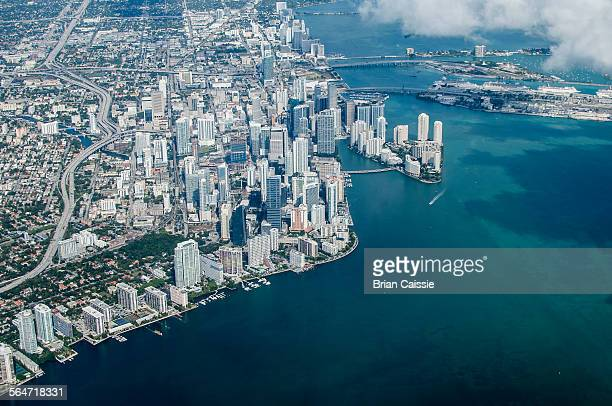 High angle view of cityscape, Miami, Florida, USA