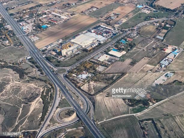 high angle view of cityscape on road - bortes imagens e fotografias de stock