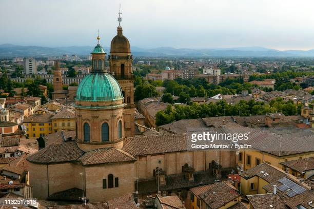 high angle view of cityscape - reggio emilia stock pictures, royalty-free photos & images