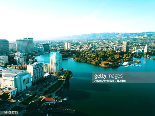 high angle view of cityscape - oakland california stock pictures, royalty-free photos & images
