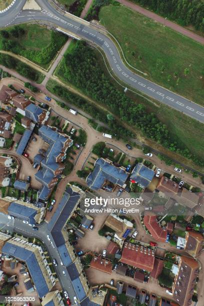 high angle view of cityscape - milton keynes stock pictures, royalty-free photos & images