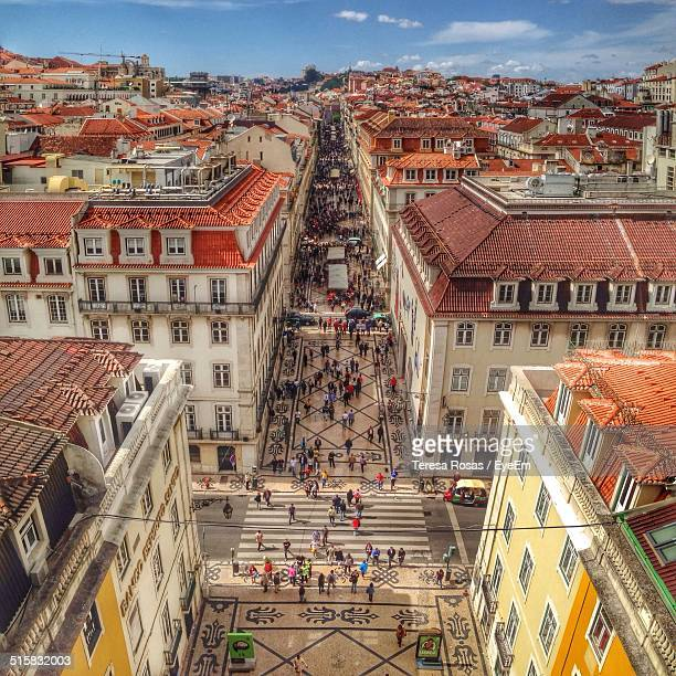 high angle view of cityscape - provincie lissabon stockfoto's en -beelden