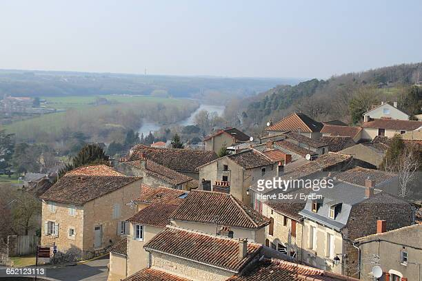 high angle view of cityscape - chauvigny stock pictures, royalty-free photos & images