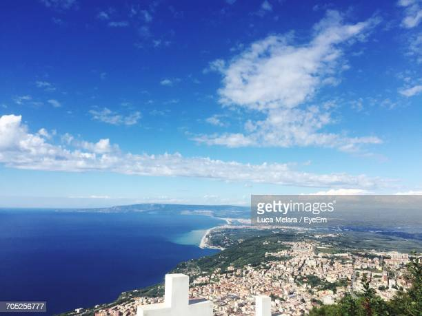 high angle view of cityscape - reggio calabria stock pictures, royalty-free photos & images