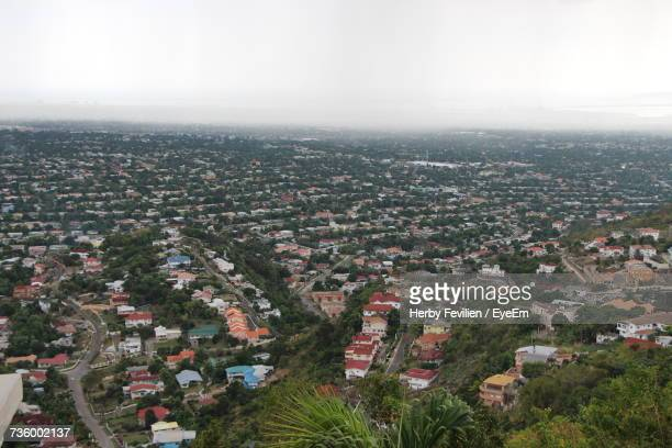 high angle view of cityscape - kingston jamaica stock pictures, royalty-free photos & images