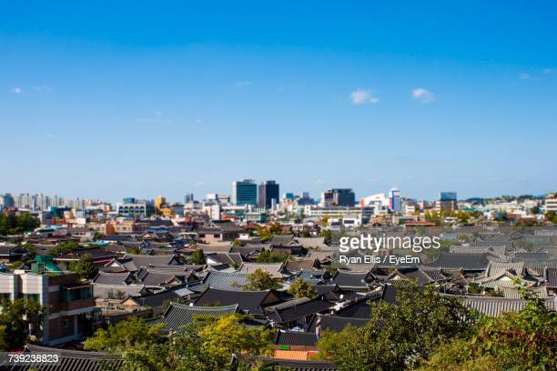 high angle view of cityscape - jeonju stock photos and pictures