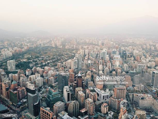high angle view of cityscape - santiago chile stock pictures, royalty-free photos & images