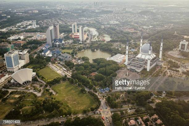 high angle view of cityscape - shah alam stock photos and pictures