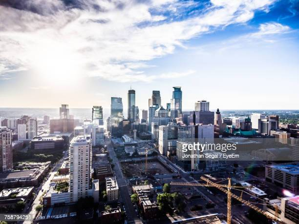 high angle view of cityscape - minneapolis stock photos and pictures