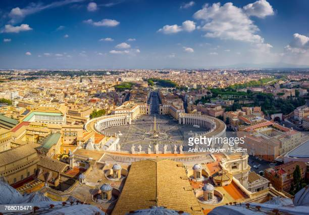 high angle view of cityscape - vatican stock pictures, royalty-free photos & images
