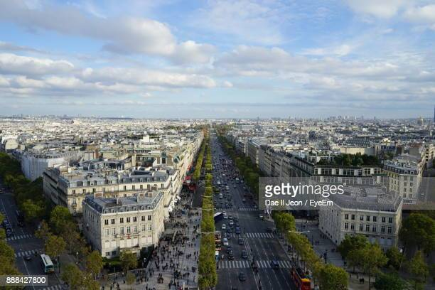 high angle view of cityscape - champs elysees quarter stock pictures, royalty-free photos & images
