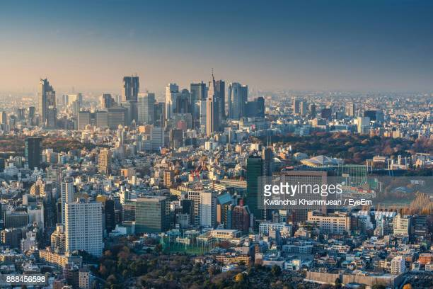 high angle view of cityscape - shinjuku ward stock pictures, royalty-free photos & images